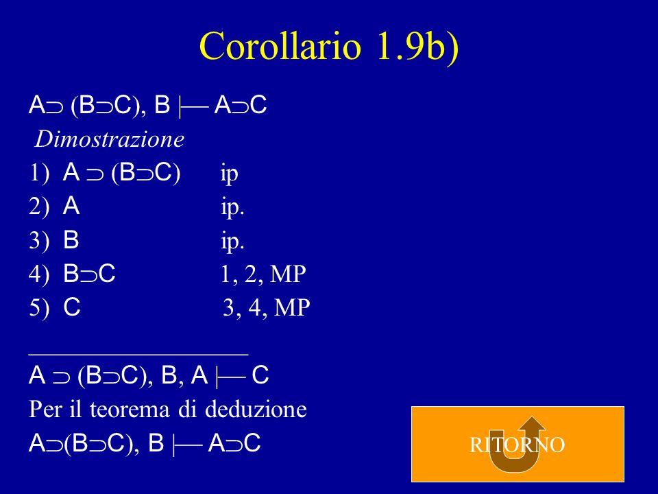 Corollario 1.9a) A B, B C   A C Dimostrazione 1) A B ip 2) B C ip.