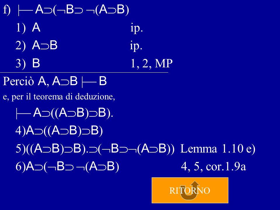 e)  ( A B ) ( B A ) 1) A B ip.