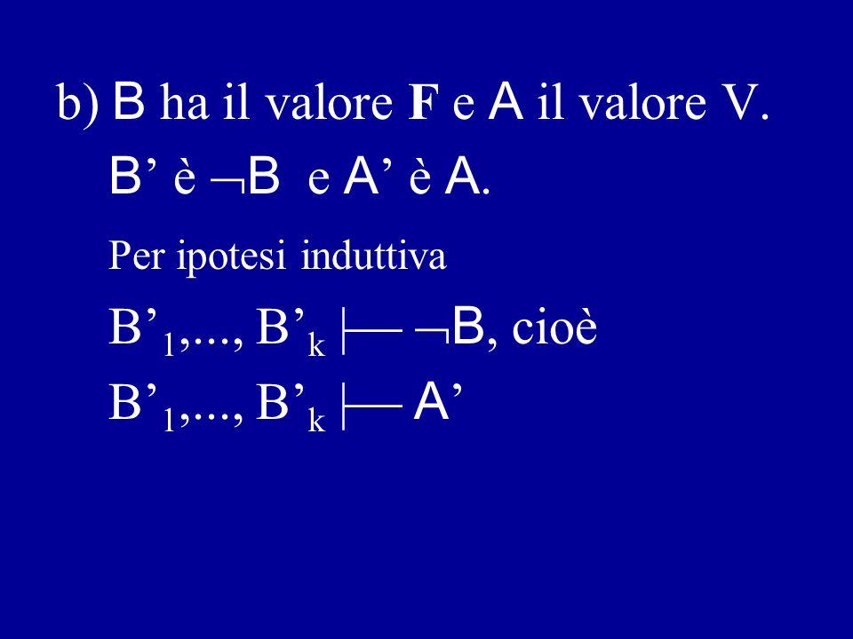 1 ) A è B.B ha meno occorrenze di A. a) B ha il valore V e A ha il valore F.