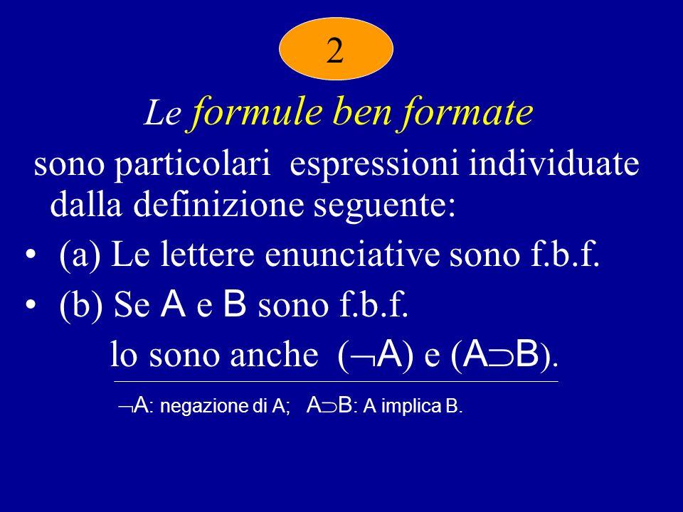 Le formule ben formate sono particolari espressioni individuate dalla definizione seguente: (a) Le lettere enunciative sono f.b.f.