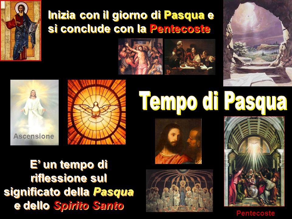Inizia con il giorno di Pasqua e si conclude con la Pentecoste E un tempo di riflessione sul significato della Pasqua e dello Spirito Santo Ascensione