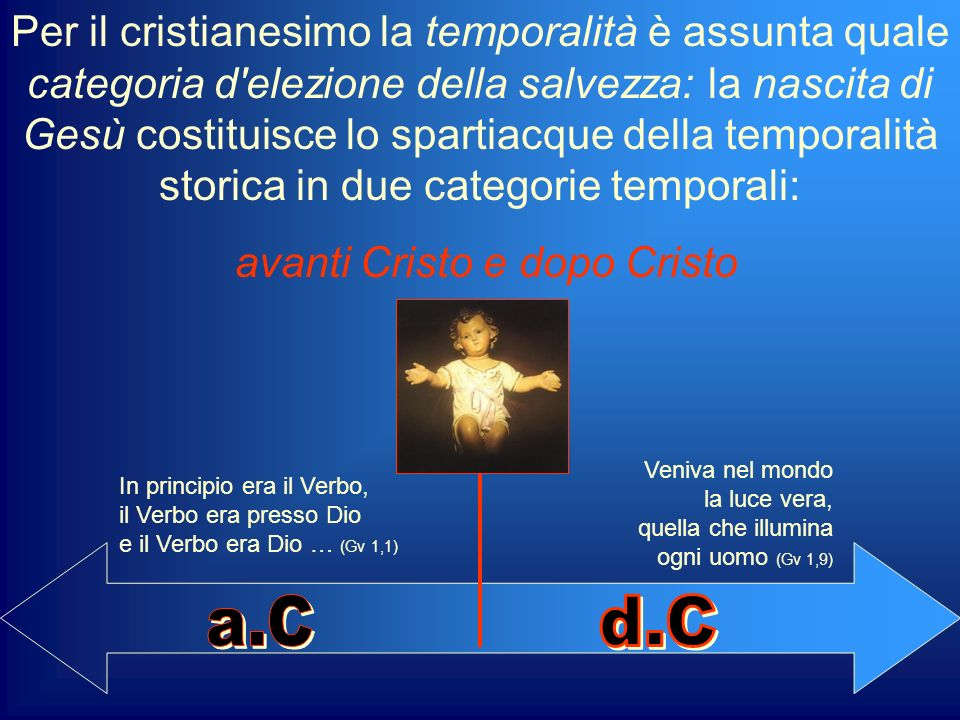 Per il cristianesimo la temporalità è assunta quale categoria d'elezione della salvezza: la nascita di Gesù costituisce lo spartiacque della temporali