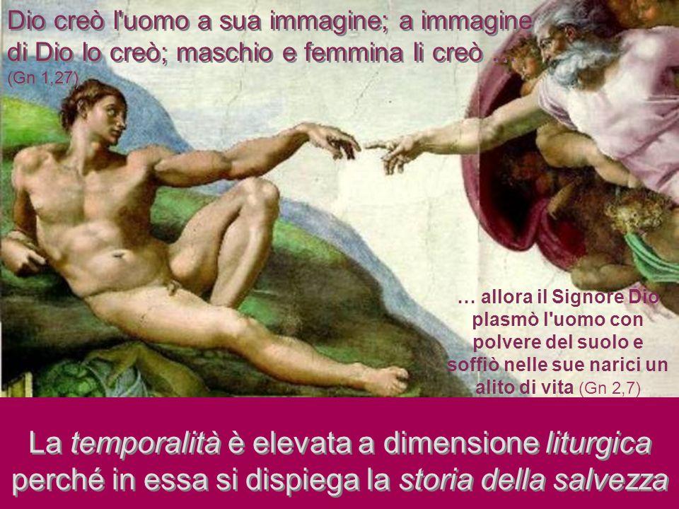 La temporalità è elevata a dimensione liturgica perché in essa si dispiega la storia della salvezza Dio creò l'uomo a sua immagine; a immagine di Dio