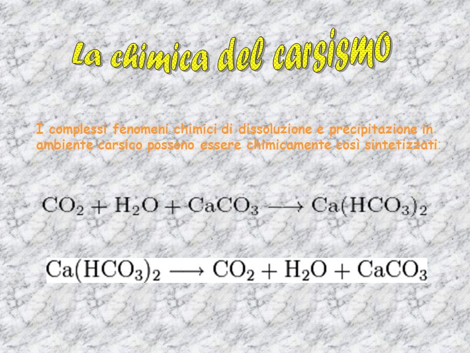 I complessi fenomeni chimici di dissoluzione e precipitazione in ambiente carsico possono essere chimicamente così sintetizzati :