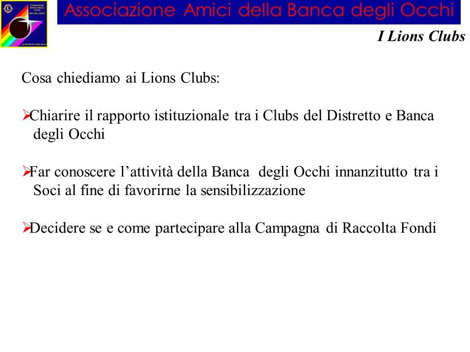 Associazione Amici della Banca degli Occhi I Lions Clubs Cosa chiediamo ai Lions Clubs: Chiarire il rapporto istituzionale tra i Clubs del Distretto e
