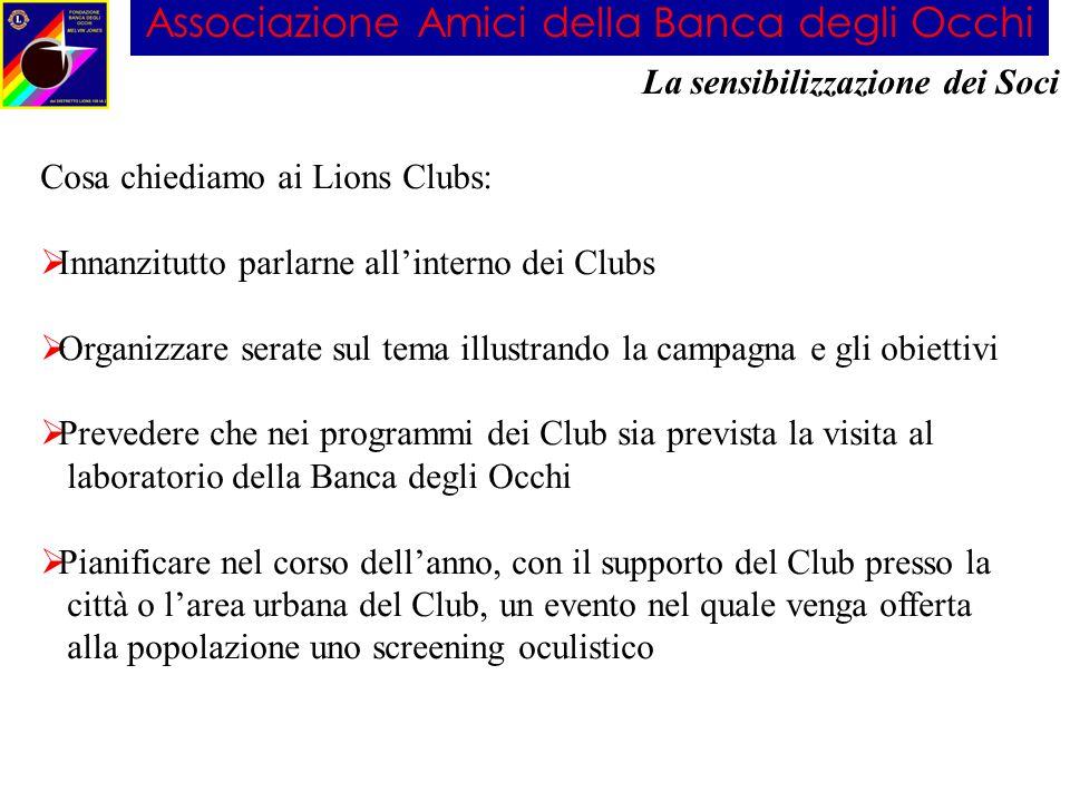 Associazione Amici della Banca degli Occhi La sensibilizzazione dei Soci Cosa chiediamo ai Lions Clubs: Innanzitutto parlarne allinterno dei Clubs Org