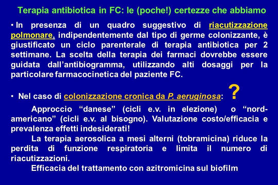 Terapia antibiotica in FC: le (poche!) certezze che abbiamo In presenza di un quadro suggestivo di riacutizzazione polmonare, indipendentemente dal ti