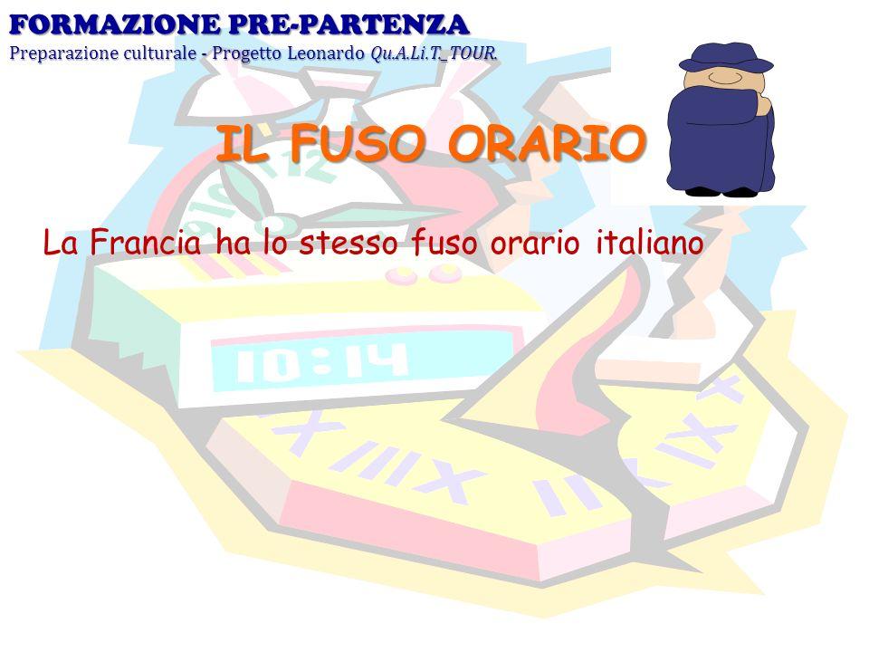 La Francia ha lo stesso fuso orario italiano FORMAZIONE PRE-PARTENZA Preparazione culturale - Progetto Leonardo Qu.A.Li.T._TOUR. IL FUSO ORARIO