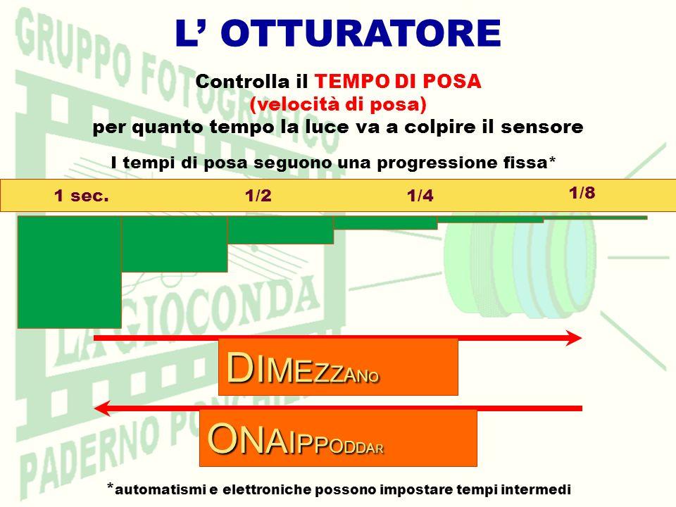 L OTTURATORE Controlla il TEMPO DI POSA (velocità di posa) per quanto tempo la luce va a colpire il sensore I tempi di posa seguono una progressione f