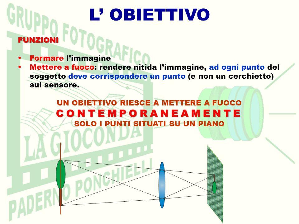 LOBIETTIVO Lunghezza focale Determinante per il campo inquadrato Determinante per il campo inquadrato (angolo di campo) Più la L.F.