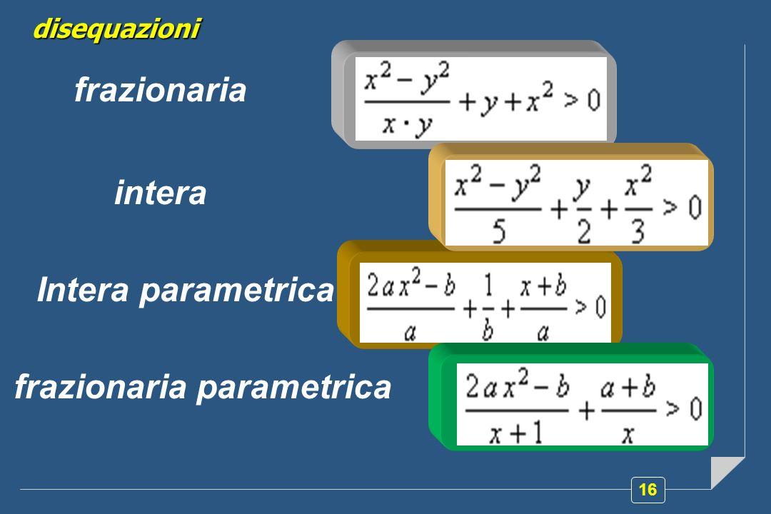 16 disequazioni frazionaria intera Intera parametrica frazionaria parametrica