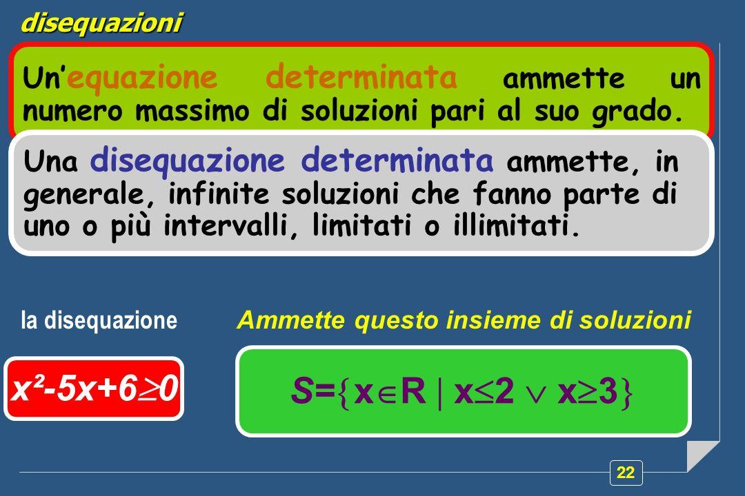 22 Un equazione determinata ammette un numero massimo di soluzioni pari al suo grado. x²-5x+6 0 S= x R x 2 x 3 disequazioni la disequazione Ammette qu