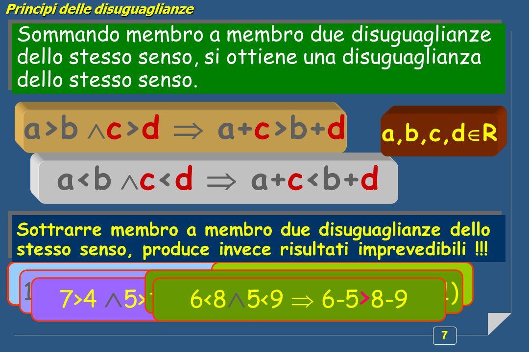 7 Sommando membro a membro due disuguaglianze dello stesso senso, si ottiene una disuguaglianza dello stesso senso. a>b c>d a+c>b+d a<b c<d a+c<b+d 12