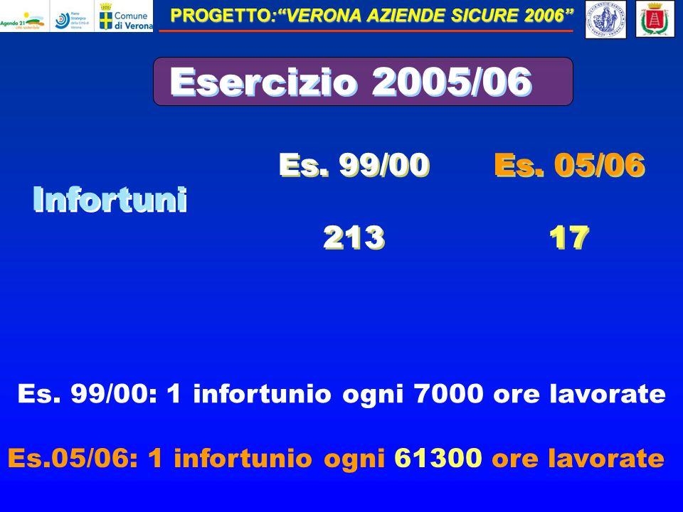 PROGETTO:VERONA AZIENDE SICURE 2006 Esercizio 2005/06 Infortuni Es.