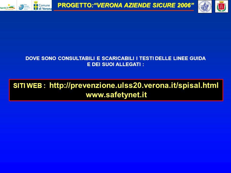 DOVE SONO CONSULTABILI E SCARICABILI I TESTI DELLE LINEE GUIDA E DEI SUOI ALLEGATI : SITI WEB : http://prevenzione.ulss20.verona.it/spisal.html www.safetynet.it