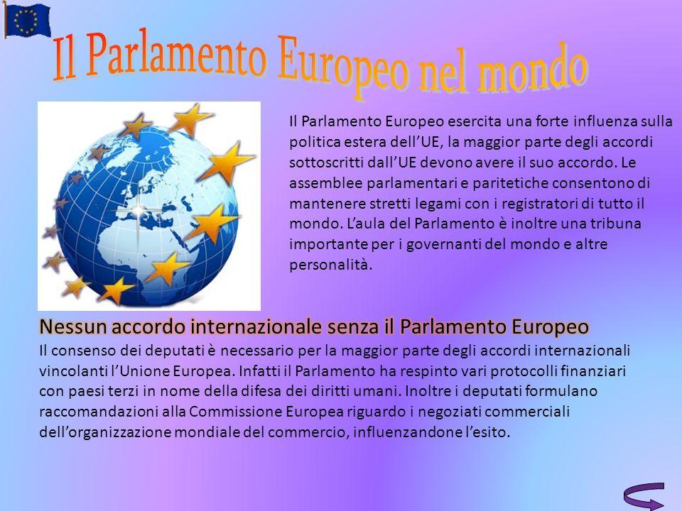 Il Parlamento Europeo esercita una forte influenza sulla politica estera dellUE, la maggior parte degli accordi sottoscritti dallUE devono avere il su
