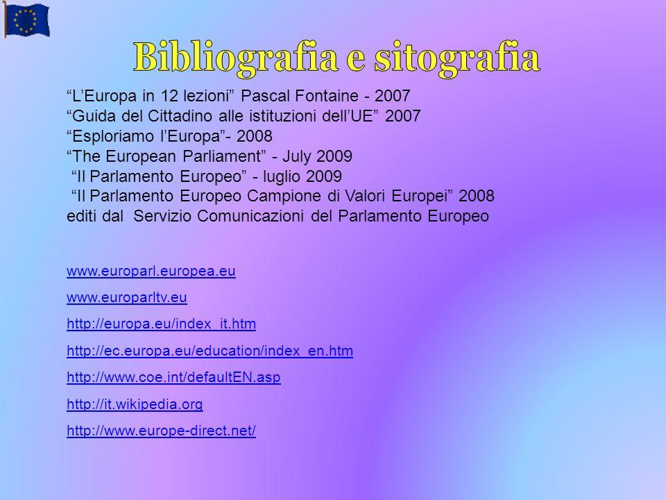 LEuropa in 12 lezioni Pascal Fontaine - 2007 Guida del Cittadino alle istituzioni dellUE 2007 Esploriamo lEuropa- 2008 The European Parliament - July