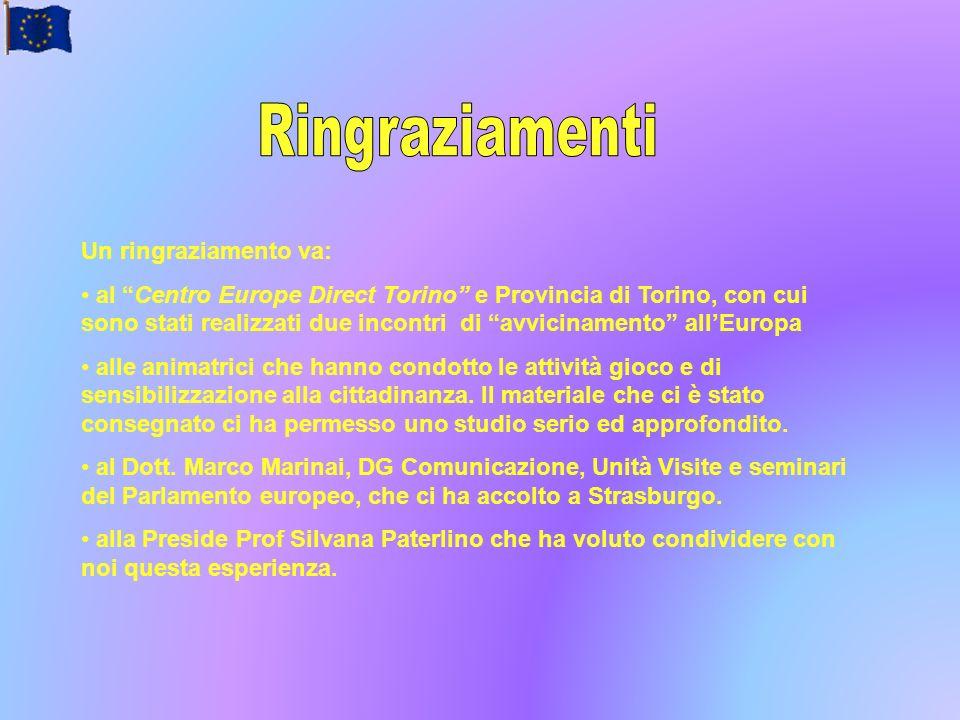 Un ringraziamento va: al Centro Europe Direct Torino e Provincia di Torino, con cui sono stati realizzati due incontri di avvicinamento allEuropa alle
