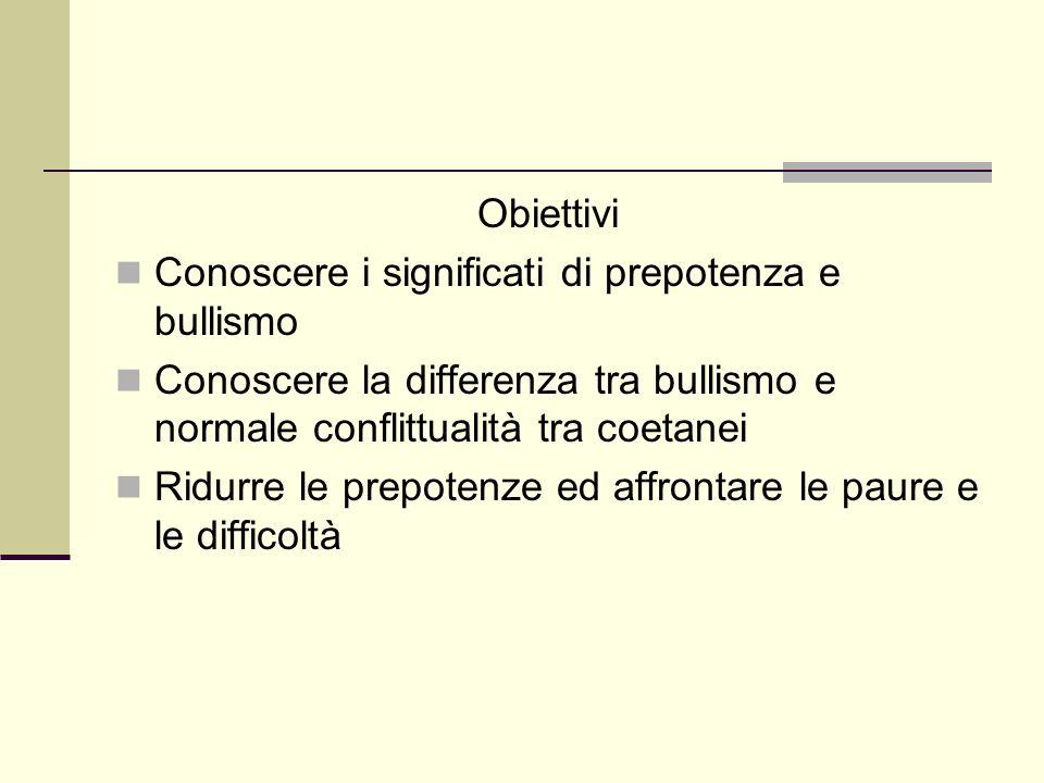 Obiettivi Conoscere i significati di prepotenza e bullismo Conoscere la differenza tra bullismo e normale conflittualità tra coetanei Ridurre le prepotenze ed affrontare le paure e le difficoltà