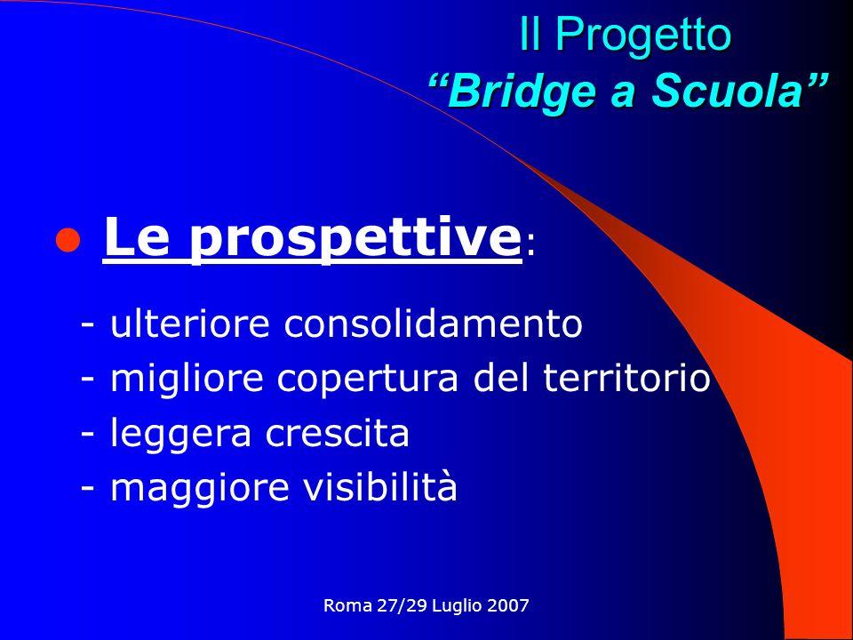 Roma 27/29 Luglio 2007 Il Progetto Bridge a Scuola Le prospettive : - ulteriore consolidamento - migliore copertura del territorio - leggera crescita - maggiore visibilità