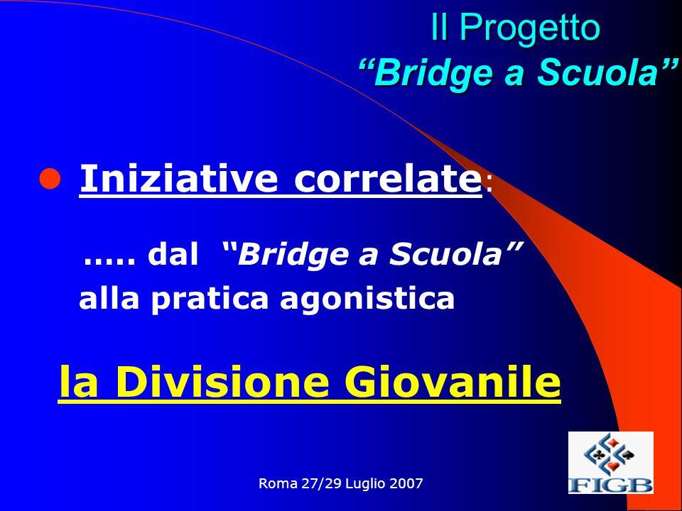 Roma 27/29 Luglio 2007 Il Progetto Bridge a Scuola Iniziative correlate : …..