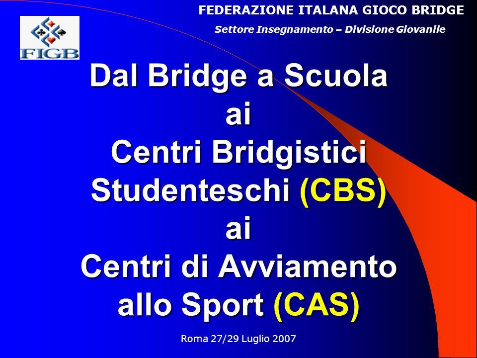 Roma 27/29 Luglio 2007 Dal Bridge a Scuola ai Centri Bridgistici Studenteschi (CBS) ai Centri di Avviamento allo Sport (CAS) FEDERAZIONE ITALANA GIOCO BRIDGE Settore Insegnamento – Divisione Giovanile