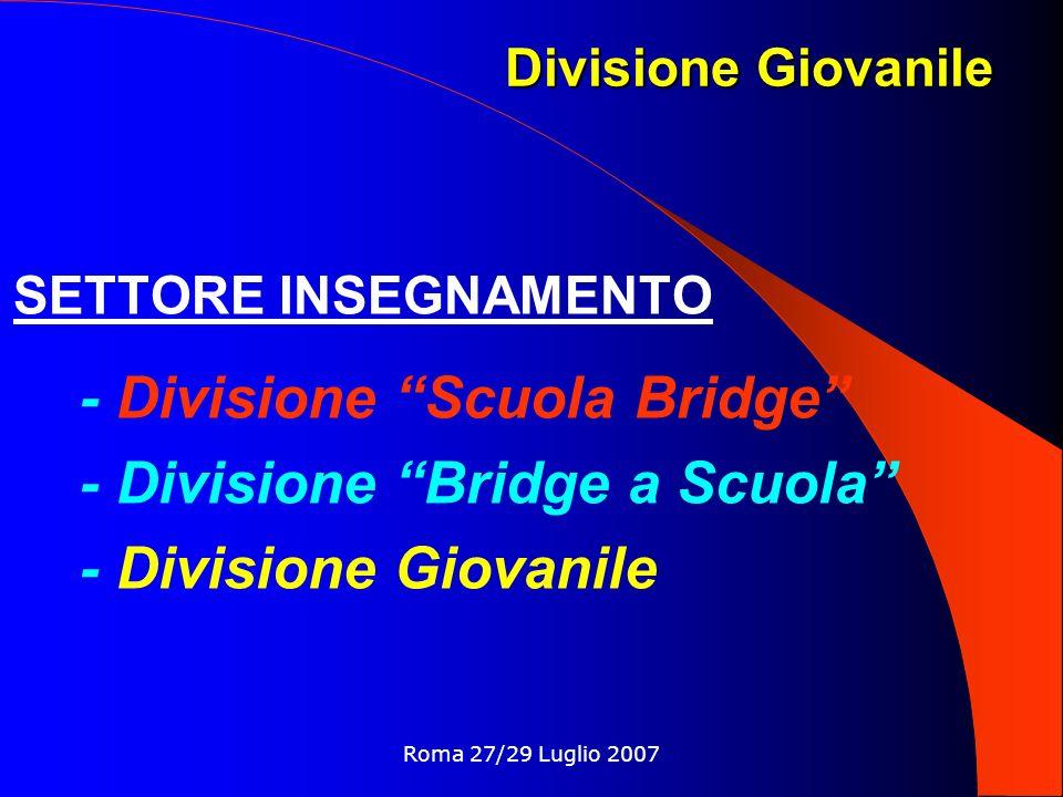 Roma 27/29 Luglio 2007 SETTORE INSEGNAMENTO - Divisione Scuola Bridge - Divisione Bridge a Scuola - Divisione Giovanile Divisione Giovanile
