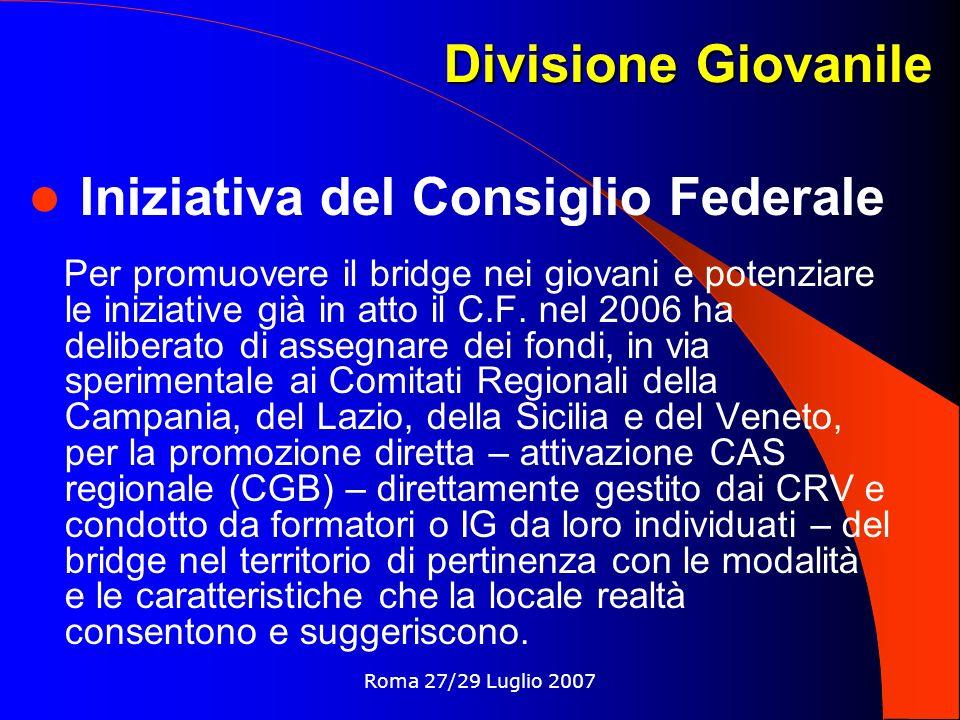 Roma 27/29 Luglio 2007 Divisione Giovanile Iniziativa del Consiglio Federale Per promuovere il bridge nei giovani e potenziare le iniziative già in atto il C.F.