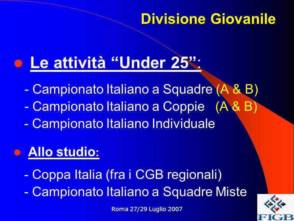Roma 27/29 Luglio 2007 Le attività Under 25: - Campionato Italiano a Squadre (A & B) - Campionato Italiano a Coppie (A & B) - Campionato Italiano Individuale Allo studio : - Coppa Italia (fra i CGB regionali) - Campionato Italiano a Squadre Miste Divisione Giovanile