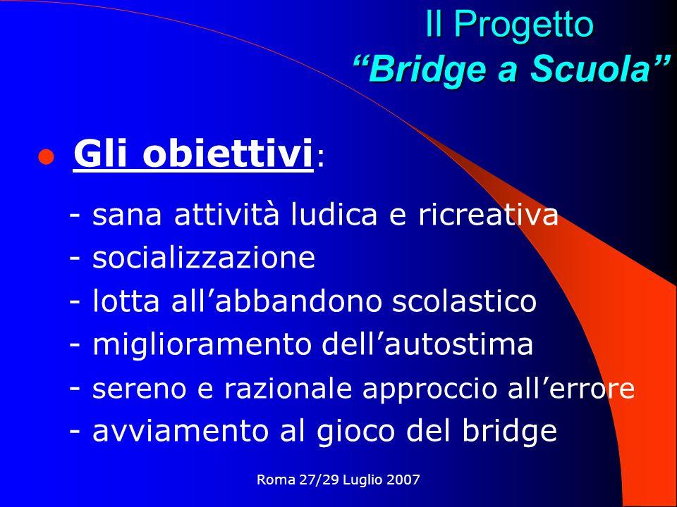Roma 27/29 Luglio 2007 Il Progetto Bridge a Scuola I mezzi : - Progetto CONI-MPI - sinergie col mondo-scuola - Precettori - didattica specifica - adesione ai GSS