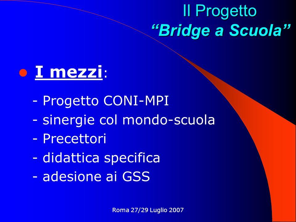 Roma 27/29 Luglio 2007 Il Progetto Bridge a Scuola Standard adottati : - Comunicazione essenziale - Sistema dichiarativo BaS Nuove tecnologie utilizzate : - Questionari - Internet Stepbridge