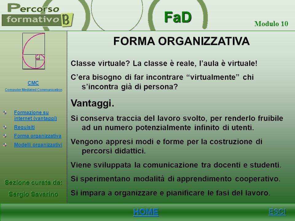 FaD Modulo 10 REQUISITI Velocità del browsing, integrazione di strumenti comunicativi (chat, forum, sistema di messaggistica), semplicità dellinterfac