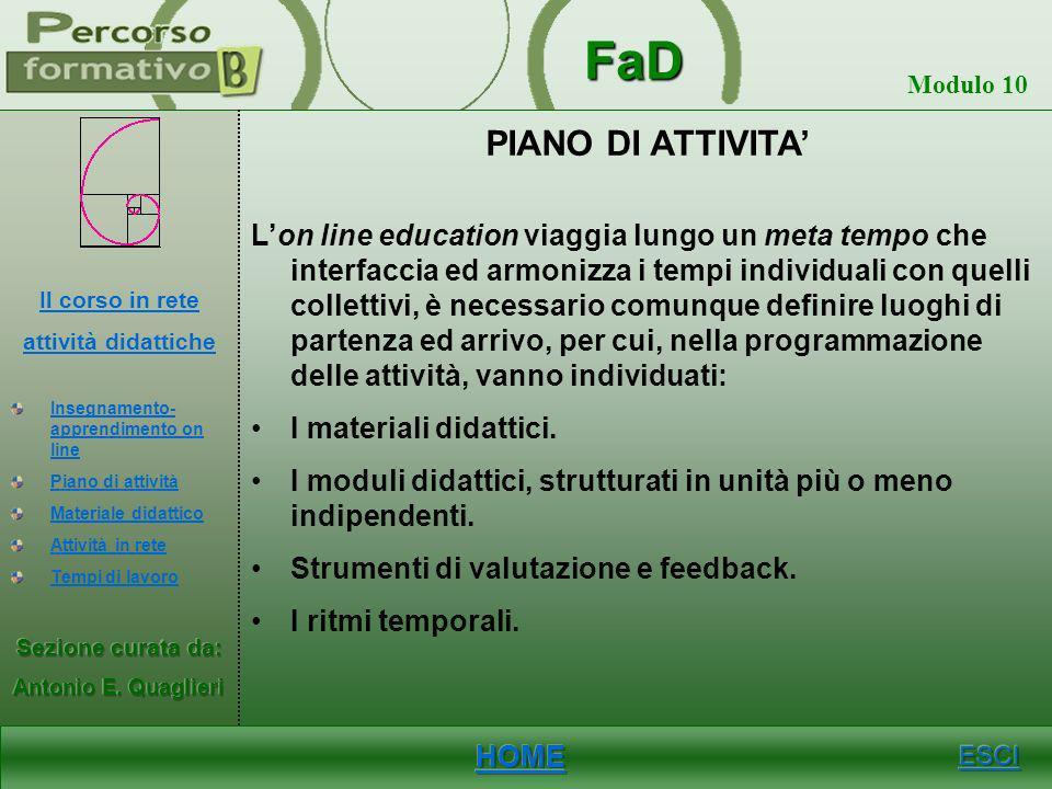 FaD Modulo 10 APPRENDIMENTO-INSEGNAMENTO ON LINE Il percorso formativo in rete, per il suo carattere collaborativo, consente di raggiungere obiettivi
