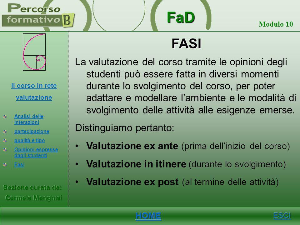 FaD Modulo 10 OPINIONI ESPRESSE DAGLI STUDENTI Le opinioni espresse dagli studenti permettono di valutare: Lambiente di comunicazione utilizzato Lorga