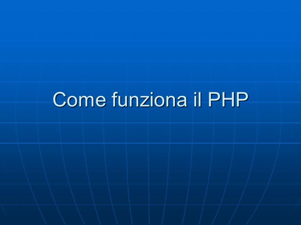 Cosè PHP Il PHP è un linguaggio di programmazione lato server sul web, non è un linguaggio compilato come il Pascal, il C ecc.