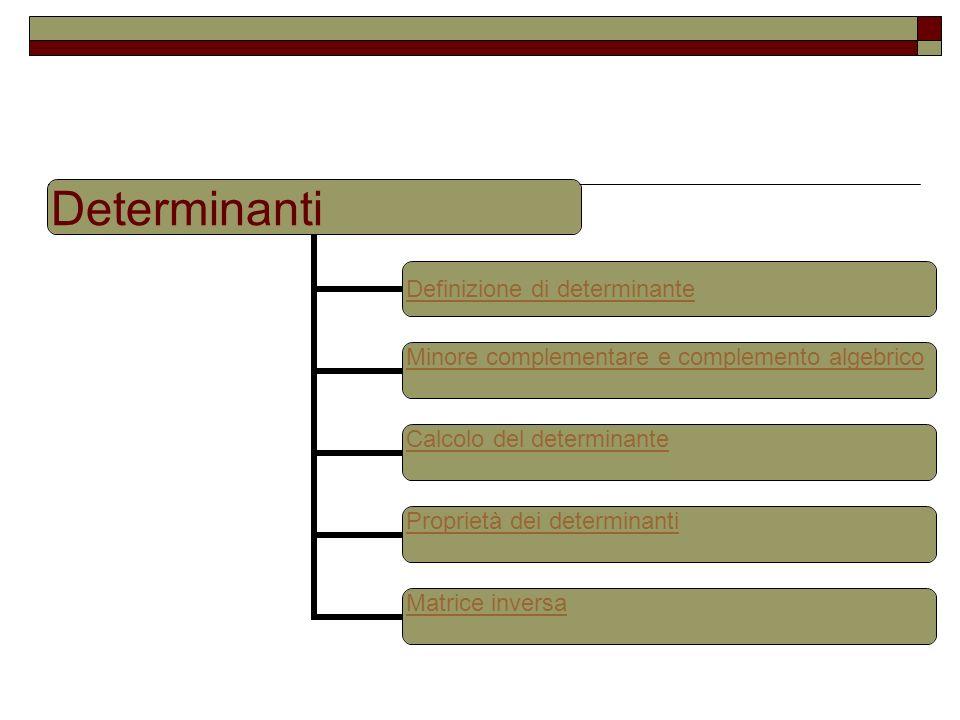 Determinanti Definizione di determinante Minore complementare e complemento algebrico Calcolo del determinante Proprietà dei determinanti Matrice inve