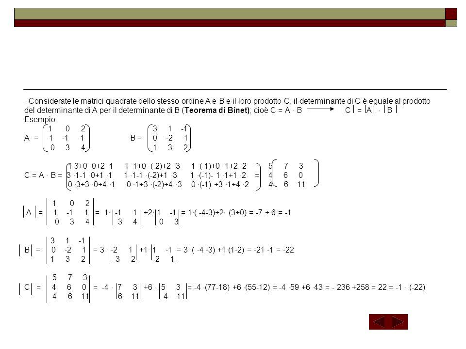 Considerate le matrici quadrate dello stesso ordine A e B e il loro prodotto C, il determinante di C è eguale al prodotto del determinante di A per il