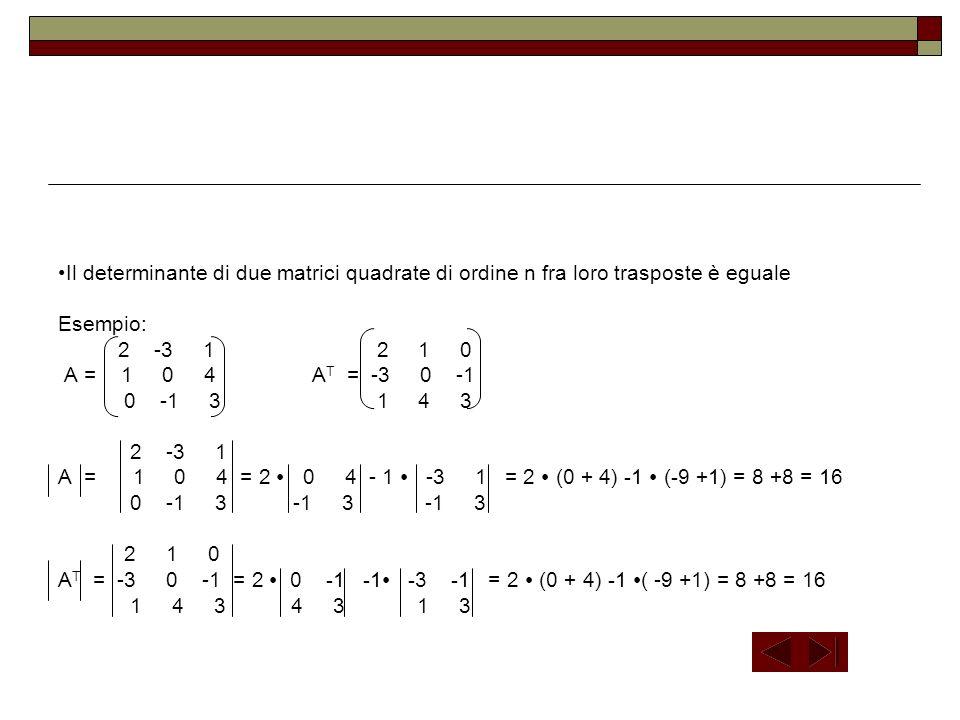 Il determinante di due matrici quadrate di ordine n fra loro trasposte è eguale Esempio: 2 -3 1 2 1 0 A = 1 0 4 A T = -3 0 -1 0 -1 3 1 4 3 2 -3 1 A =
