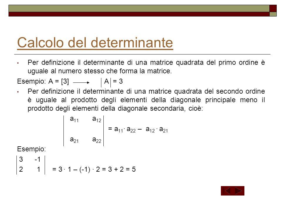 Il determinante di due matrici quadrate di ordine n fra loro trasposte è eguale Esempio: 2 -3 1 2 1 0 A = 1 0 4 A T = -3 0 -1 0 -1 3 1 4 3 2 -3 1 A = 1 0 4 = 2 0 4 - 1 -3 1 = 2 (0 + 4) -1 (-9 +1) = 8 +8 = 16 0 -1 3 -1 3 -1 3 2 1 0 A T = -3 0 -1 = 2 0 -1 -1 -3 -1 = 2 (0 + 4) -1 ( -9 +1) = 8 +8 = 16 1 4 3 4 3 1 3