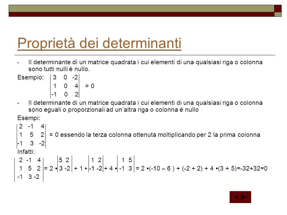 Matrice aggiunta Considerata la matrice a 11 a 12 a 13 … … … … … … … … … a 1n a 21 a 22 a 23 … … … … … … … … … a 2n A = a 31 a 32 a 33 … … … … … … … … … a 3n … … … … … … … … … … … … a n1 a n2 a n3 … … … … … … … … … a nn e quindi la sua trasposta a 11 a 21 a 31 … … … … … … … … … a n1 a 12 a 22 a 32 … … … … … … … … … a n2 A T = a 13 a 23 a 33 … … … … … … … … … a n3 … … … … … … … … … … … … a 1n a 2n a 3n … … … … … … … … … a nn e detti A ki i complementi algebrici della trasposta, la matrice, che indichiamo con A +, i cui elementi sono tali complementi algebrici è detta matrice aggiunta; quindi A 11 A 21 A 31 … … … … … … … … … A n1 A 12 A 22 A 32 … … … … … … … … … A n2 A + = A 13 A 23 A 33 … … … … … … … … … A n3 … … … … … … … … … … … … A 1n A 2n A 3n … … … … … … … … … A nn è la matrice aggiunta di A