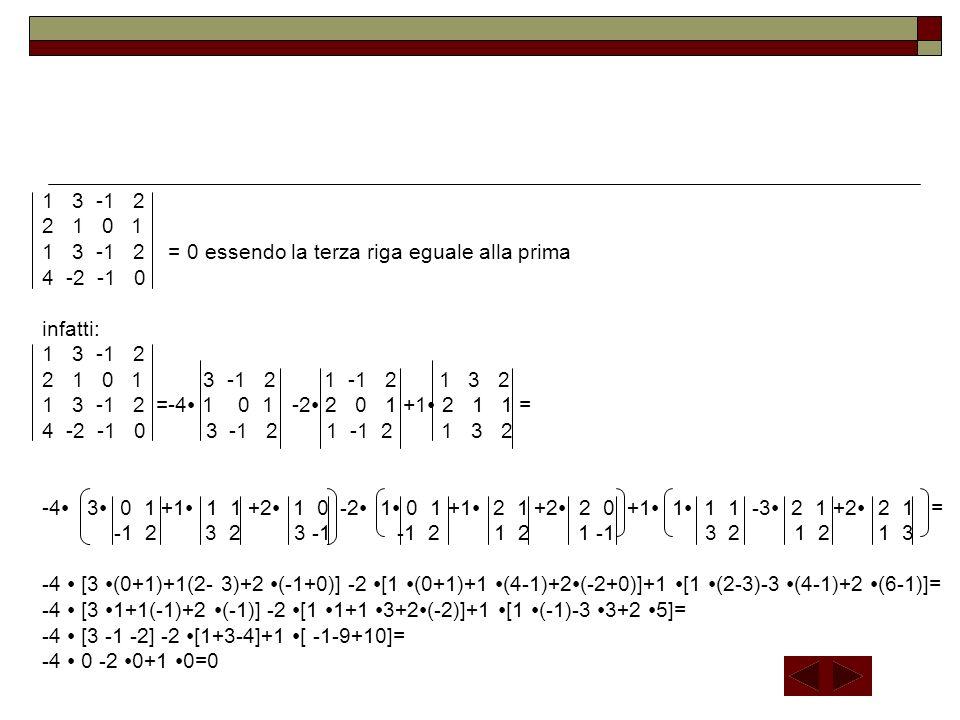 A 33 La matrice inversa A -1 è la matrice i cui elementi sono uguali agli elementi della matrice aggiunta A + ciascuno diviso per il determinante D della matrice A,cioè: A 11 A 21 A 31 … … … … … … … … … A n1 D D D D A 12 A 22 A 32 … … … … … … … … … A n2 D D D D A -1 = A 13 A 23 A 33 … … … … … … … … … A n3 D D D D … … … … … … … … … … … … A 1n A 2n A 3n … … … … … … … … … A nn D D D D Esempio: 1 -2 1 1 -2 1 A = 0 1 -1 D = 0 1 -1 = 1 1 -1 +2 -2 1 = 1 (1+0)+ 2 (2-1) = 1+2 = 3 2 0 1 2 0 1 0 1 1 -1 A 11 = 1 -1 = 1 A 12 =- 0 -1 = -2 A 13 = 0 1 = -2 A 21 =- -2 1 = 2 A 22 = 1 1 =1-2 =-1 0 1 2 1 2 0 0 1 2 1 A 23 =- 1 -2 =-4 A 31 = -2 1 =2-1 =1 A 32 =- 1 1 = 1 A 33 = 1 -2 = 1 2 0 1 -1 0 -1 0 1 quindi la matrice inversa è: 1 2 1 3 3 3 A -1 = -2 -1 1 3 3 3 -2 - 4 1 3 3 3