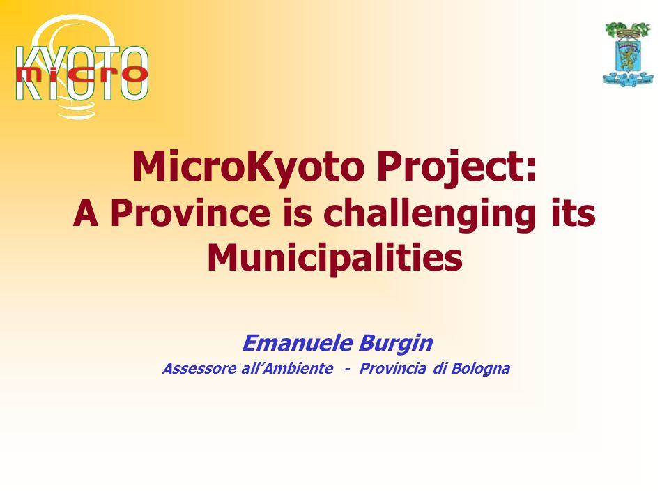 Provincia di Bologna Provincia di Bologna – Assessorato AmbienteProgetto MicroKyoto 370.219 km2 1.000.000 inhabitants 60 municipalities.