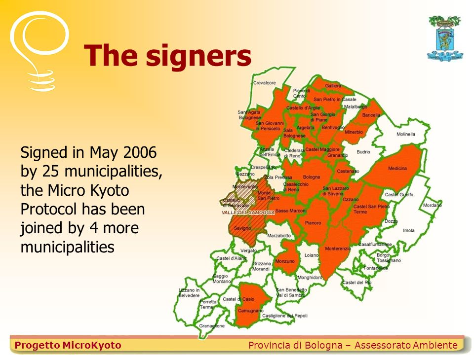The signers Provincia di Bologna – Assessorato AmbienteProgetto MicroKyoto Signed in May 2006 by 25 municipalities, the Micro Kyoto Protocol has been joined by 4 more municipalities