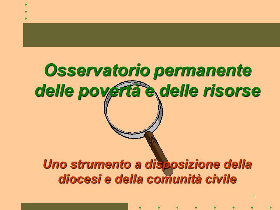 1 Osservatorio permanente delle povertà e delle risorse Uno strumento a disposizione della diocesi e della comunità civile
