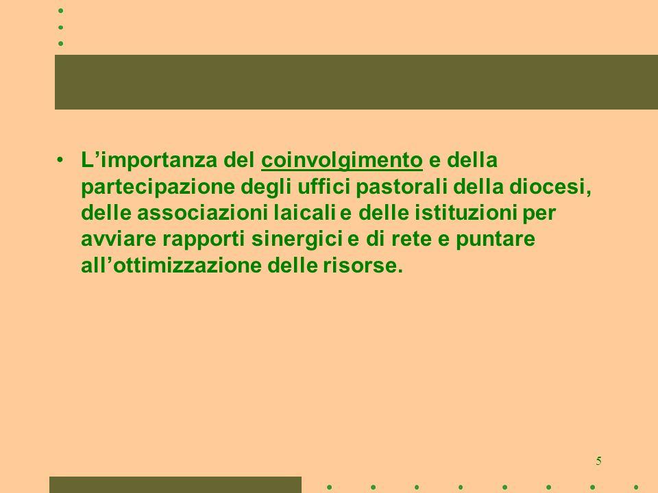 5 Limportanza del coinvolgimento e della partecipazione degli uffici pastorali della diocesi, delle associazioni laicali e delle istituzioni per avviare rapporti sinergici e di rete e puntare allottimizzazione delle risorse.