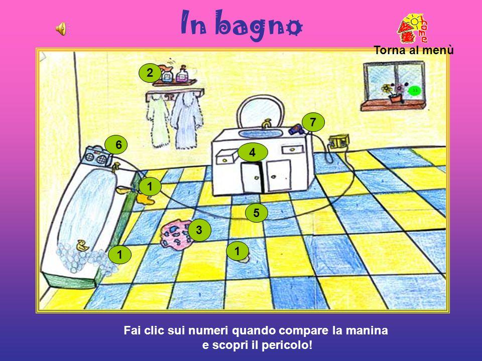 In bagno 1 1 1 2 3 4 5 6 7 Torna al menù Fai clic sui numeri quando compare la manina e scopri il pericolo!