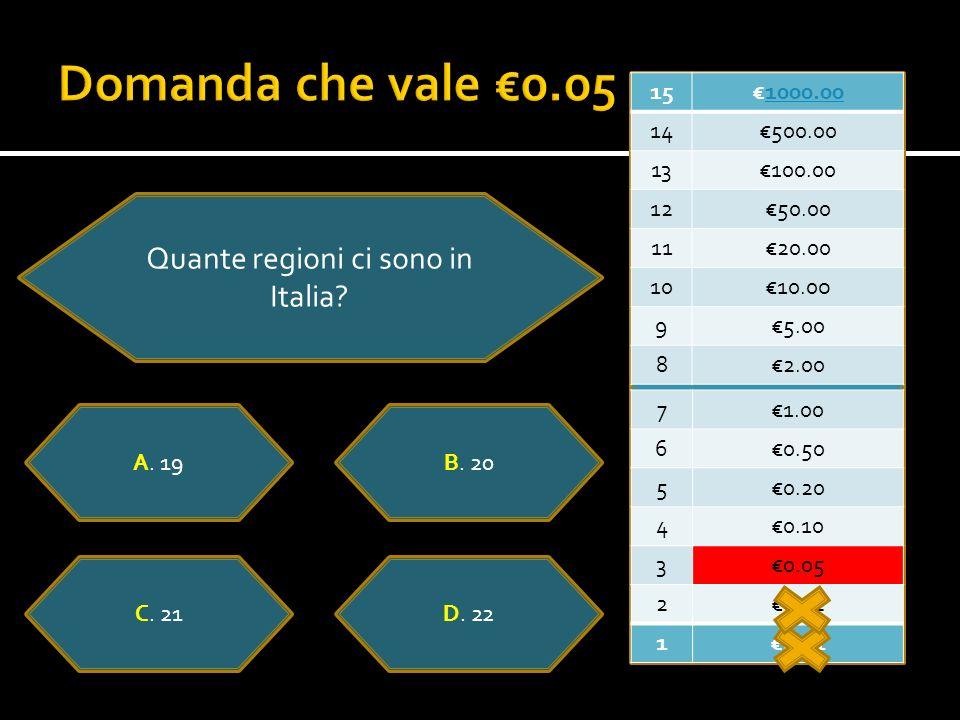 151000.00 14500.00 13100.00 1250.00 1120.00 1010.0o 95.00 82.00 71.00 60.50 50.20 40.10 30.05 20.02 10.01 Quante regioni ci sono in Italia.