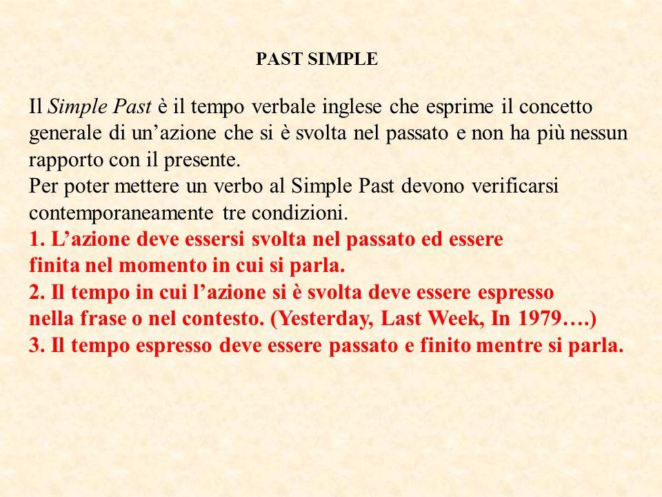 PAST SIMPLE Il Simple Past è il tempo verbale inglese che esprime il concetto generale di unazione che si è svolta nel passato e non ha più nessun rap