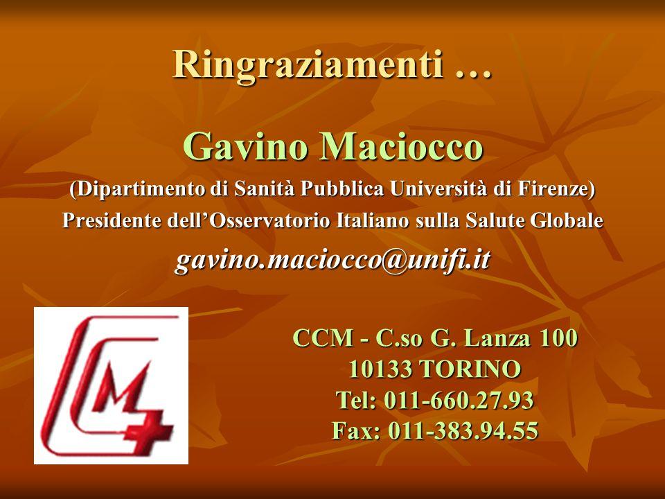 Ringraziamenti … Gavino Maciocco (Dipartimento di Sanità Pubblica Università di Firenze) Presidente dellOsservatorio Italiano sulla Salute Globale gavino.maciocco@unifi.it CCM - C.so G.