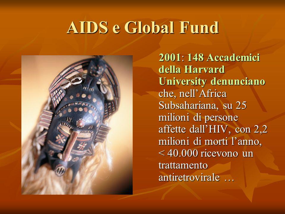 AIDS e Global Fund 2001: 148 Accademici della Harvard University denunciano che, nellAfrica Subsahariana, su 25 milioni di persone affette dallHIV, con 2,2 milioni di morti lanno, < 40.000 ricevono un trattamento antiretrovirale … 2001: 148 Accademici della Harvard University denunciano che, nellAfrica Subsahariana, su 25 milioni di persone affette dallHIV, con 2,2 milioni di morti lanno, < 40.000 ricevono un trattamento antiretrovirale …